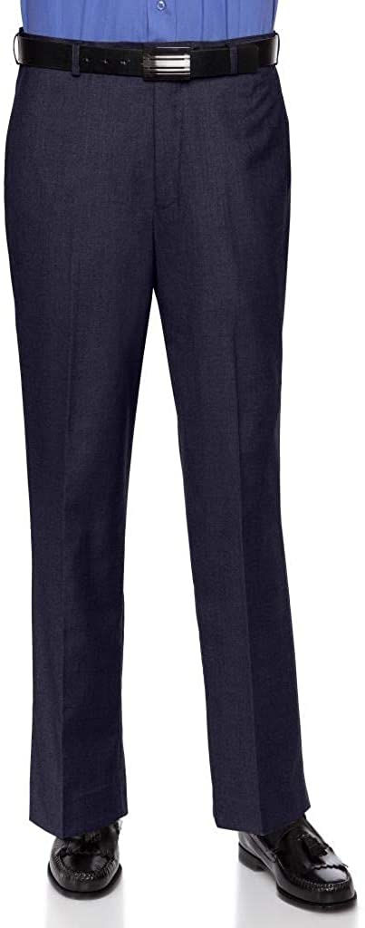 RGM Mens Slim fit Dress Pants Flat-Front - Modern Formal Business Wrinkle Free No Iron Navy 33W x 30L-Slim