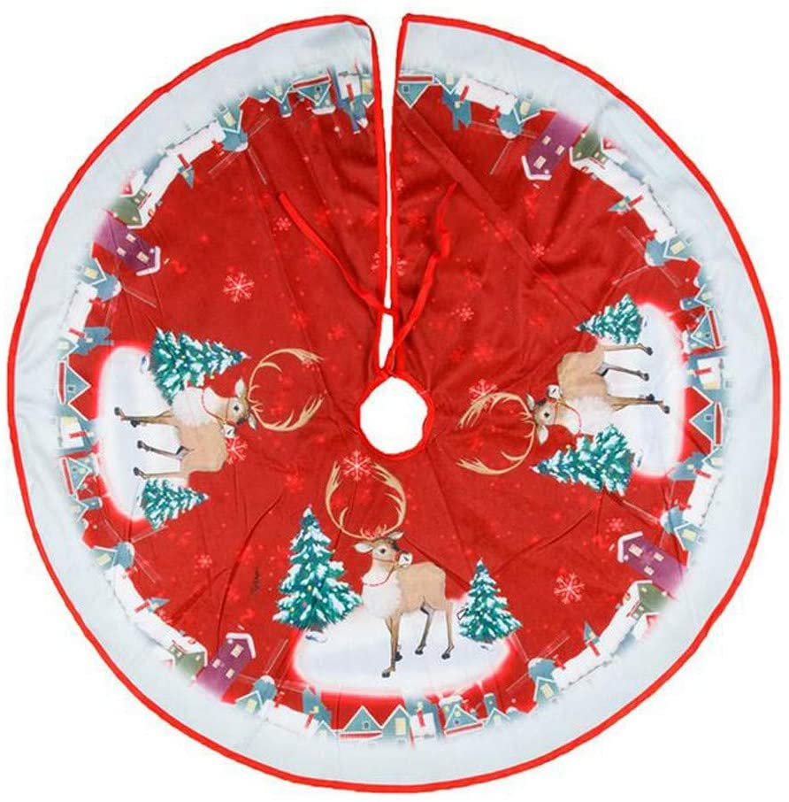 ValueVinylArt Merry Christmas Christmas Tree Skirt, Versatile, Easy to Replace, Large Tree Cushion Decoration for Christmas Holiday Party Supplies (B)