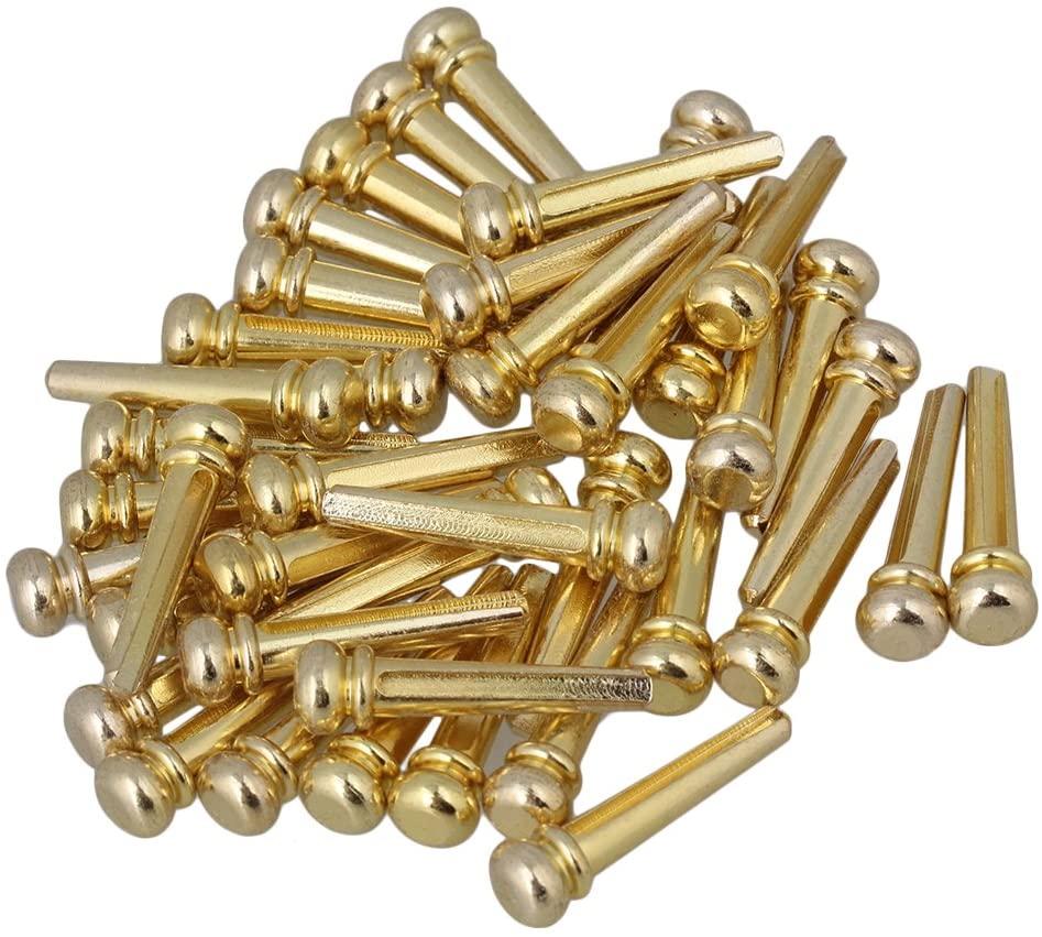 Metal Guitar Bridge Pins Guitar Parts for Wooden Guitar Replacement Parts (Golden)