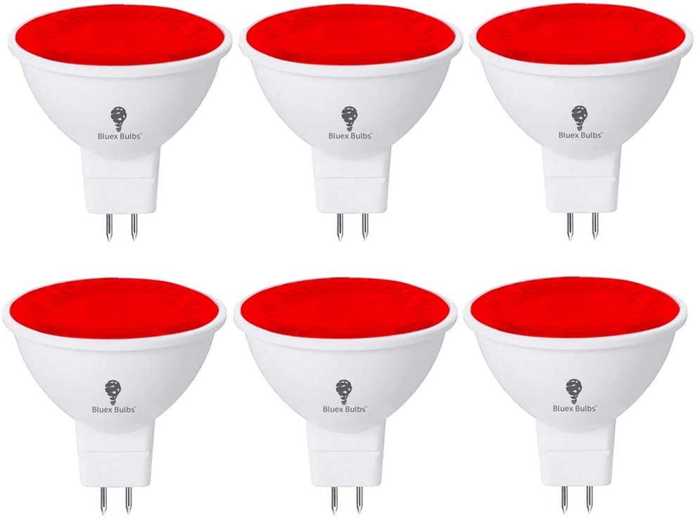 6 Pack BlueX LED MR16 Red Light Bulb - 6W (50Watt Equivalent) - GU5.3 Bi-Pin Base 12V Red LED Red Bulb, Party Decoration, Porch, Home Lighting, Holiday Lighting, Decorative Illumination MR16 LED Bulb