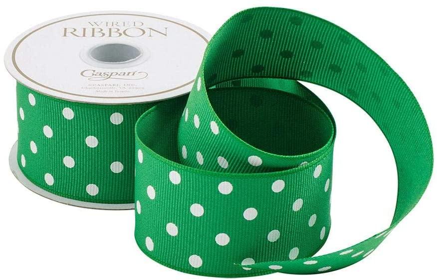 Caspari Green & White Polka Dot Wired Ribbon - Three 18 Ft. Spools