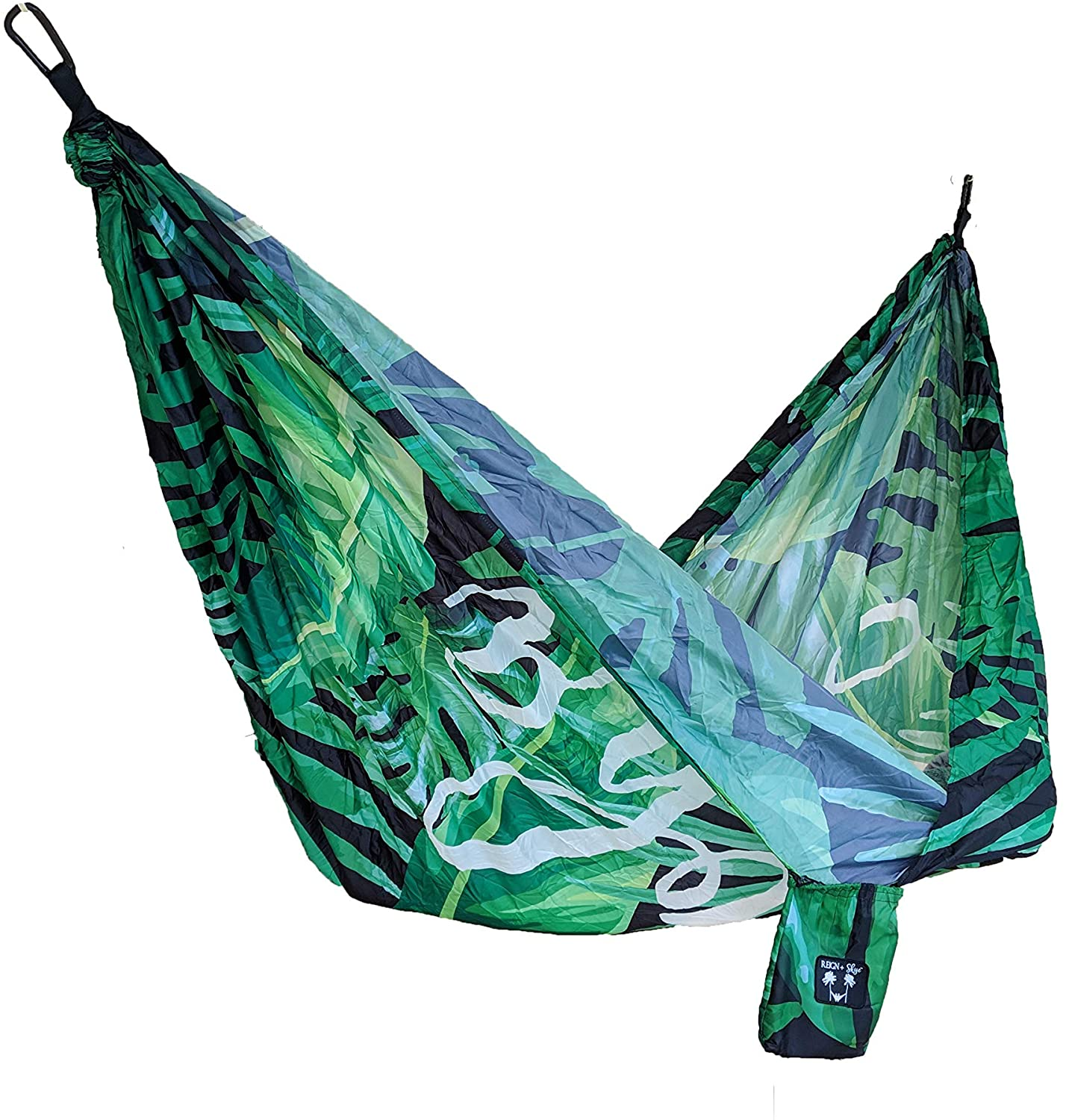 Adventure Hawaii Double Hammock- Nylon Parachute Hammock with Tropical Aloha Print for Camping, Hiking, Beach, Travel. Extra Large, Light Weight, Tree Straps Included. Reign + Skye.