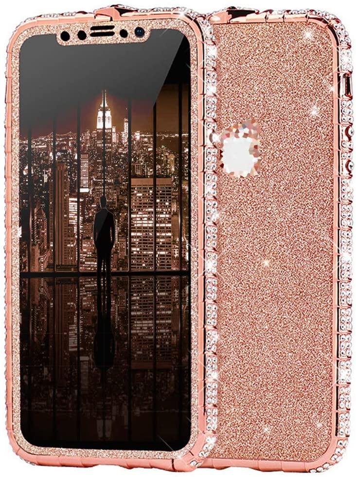 Case for iPhone 11 Pro Max Cover,Girl Women Sparkly Bling Glitter Rhinestone Diamond Metal Button Bumper Case Cover Shiny Glitter Sticker Protective Cover for iPhone 11 Pro Max Diamond Case,Rose Gold