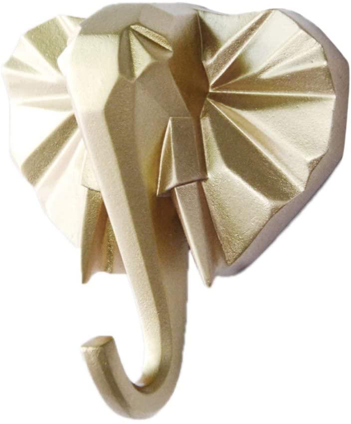 QINREN Animal Single Wall Hook/Hanger Animal Shaped Coat Hat Hook Heavy Duty,Golden,Resin