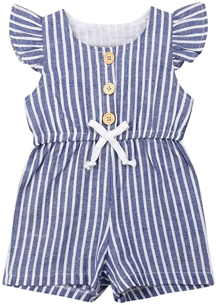 Infant Girl Clothes One Piece Short Sleeve Romper Jumpsuit Stripe Bodysuit Summer Clothes