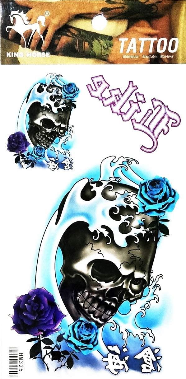 PARITA Tattoos Sea Wave Rose Skull Goth Horror Cartoon Waterproof Tattoo Stickers Designs Body Art Arm Leg Fake Removable for Men Women Teens (1 Sheet.) (06)