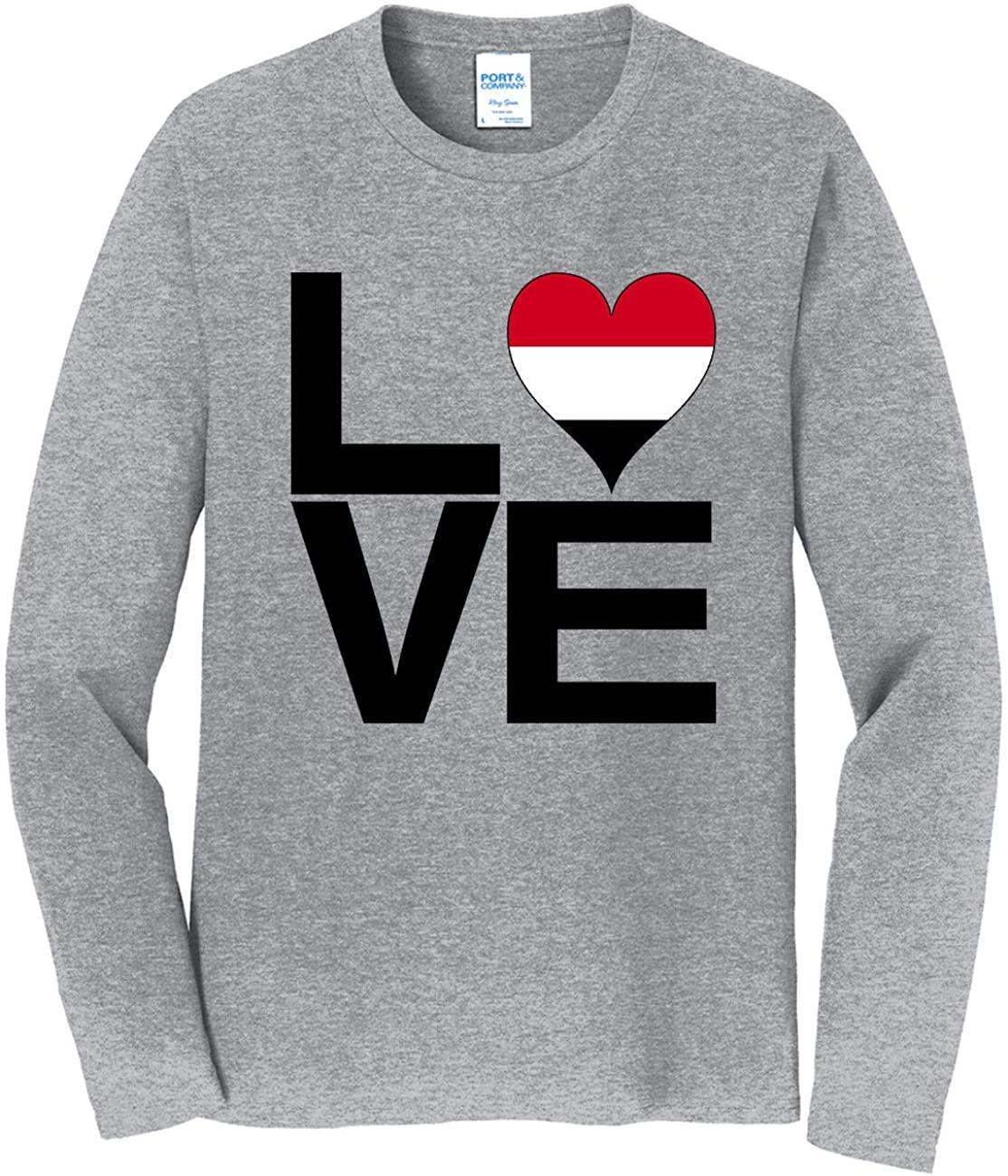 HARD EDGE DESIGN Men's Love Block Yemen Heart Long Sleeve T-Shirt, 5X-Large, Heather Gray