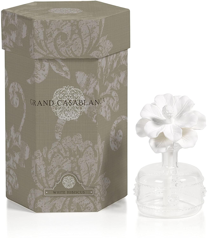 Zodax Mini Grand Casablanca Porcelain Diffuser, White Hibiscus