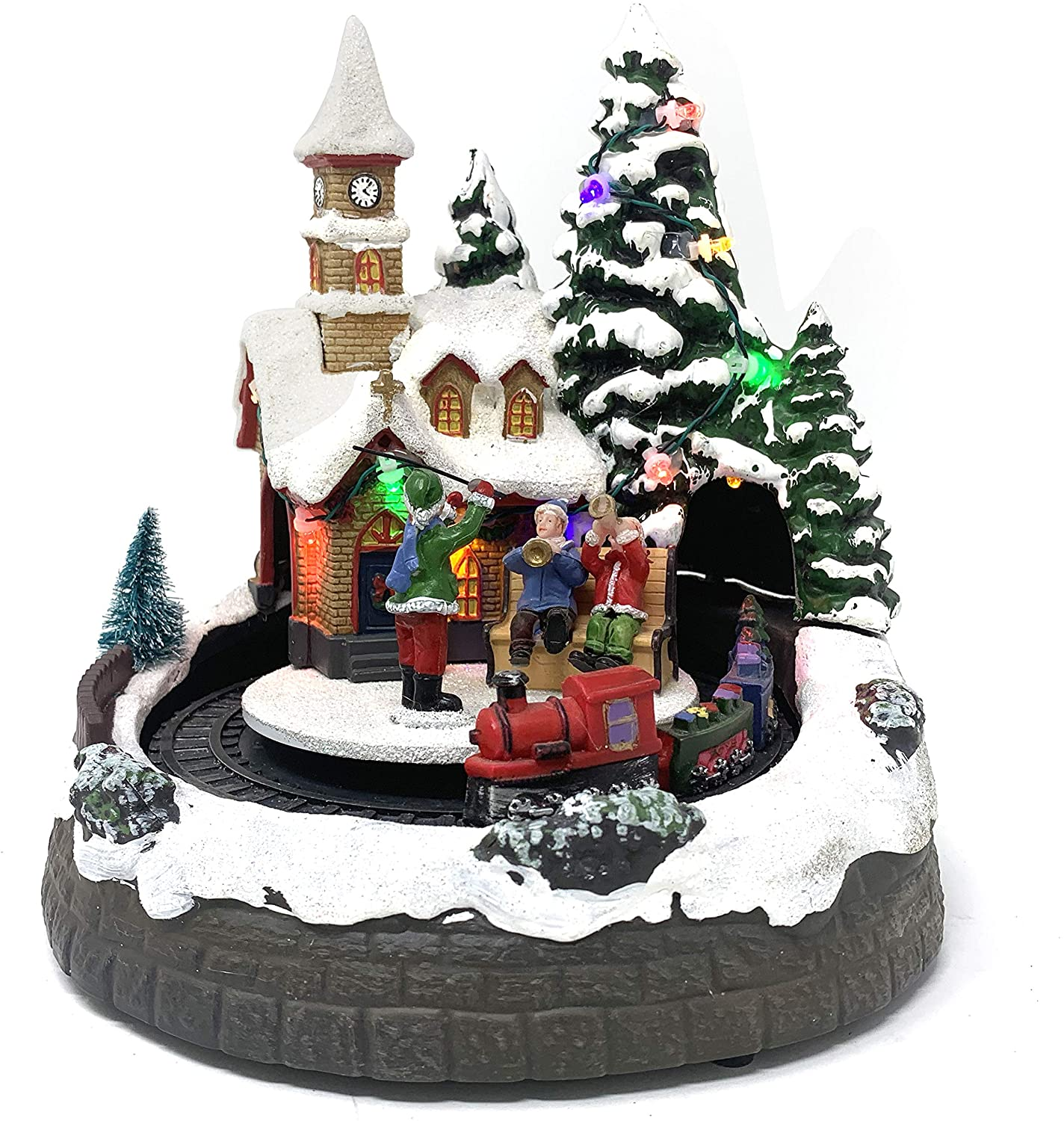 allgala Crafted Polyresin Christmas House Collectable Décor Building House Figurine with USB and Battery Dual Power Source-Moving Train and Wind Players-XH93412