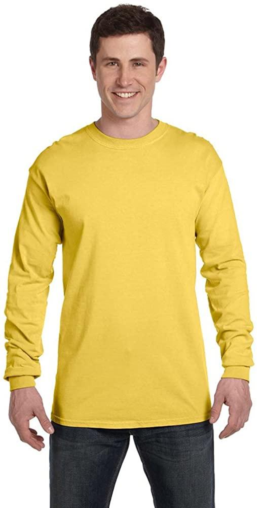 Comfort Colors Ringspun Garment-Dyed Long-Sleeve T-Shirt, 2XL, NEON YELLOW