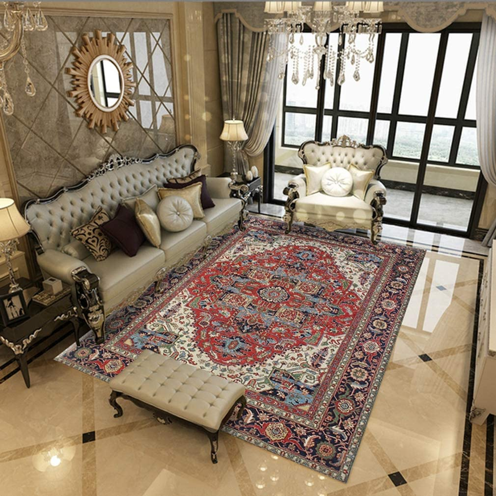 MOXIC Soft Isfahan Living Room Area Rugs Rectangular Collection Traditional Bedroom Rug Fleece Anti-Slip Carpets Classic Floral Home Decor Mats Indoor Outdoor Runners Nursery 7' X 13'