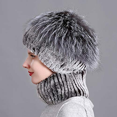 OG-Renstky Women Winter Natural Rex Rabbit Fur Scarf and Hat Solid Color Street Shoot Hat