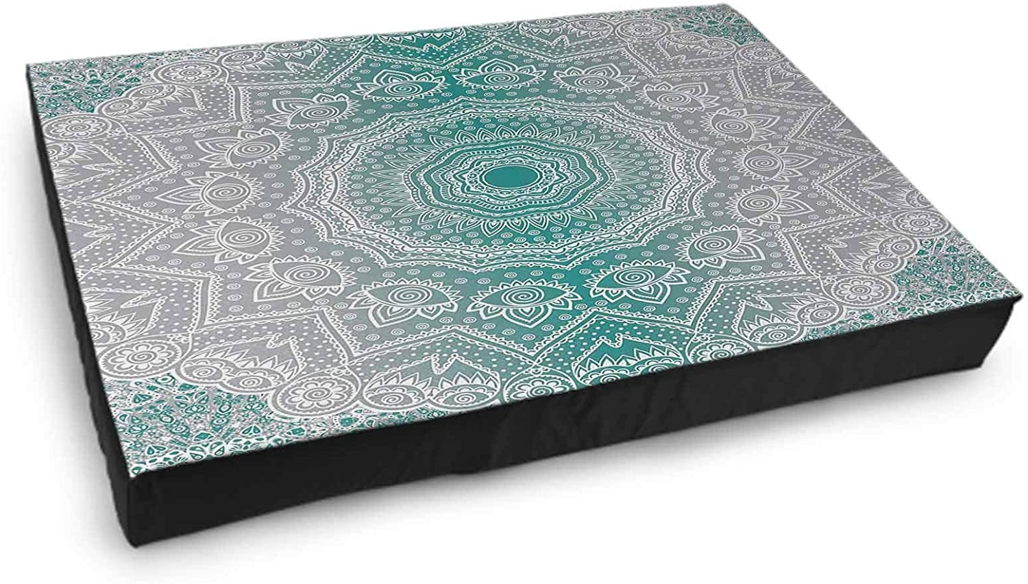 Interestlee Puppy Beds Small, Grey and Teal Custom Dog Bed - Ombre Geometry Occult Pattern with Flower Lines Display Artwork 15