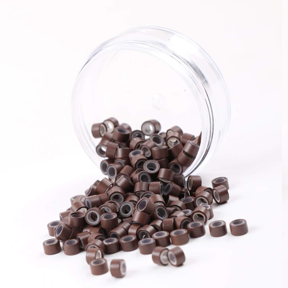 200Pcs Beads Silicone Aluminium Micro Nano Rings 3mm Lined For I Tip/Nano Hair Extensions Tool Beads (Brown Color)