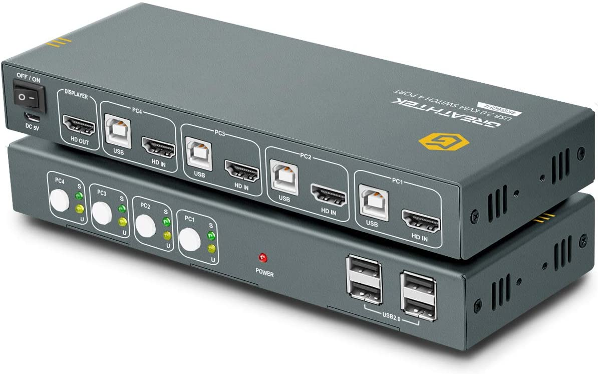 4 Port HDMI 2.0 KVM Switch 4K@60Hz, USB KVM Switch HDMI 4 in 1 Out with 4 USB 2.0 Hub, Compatible with Most Keyboards and Mouse, Button Switch