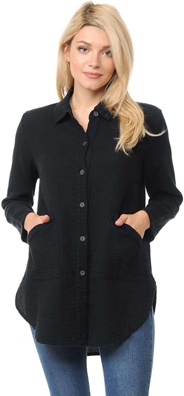 Focus Fashion Women's Cotton Mini Waffle Tunic Top Shirt-LW110