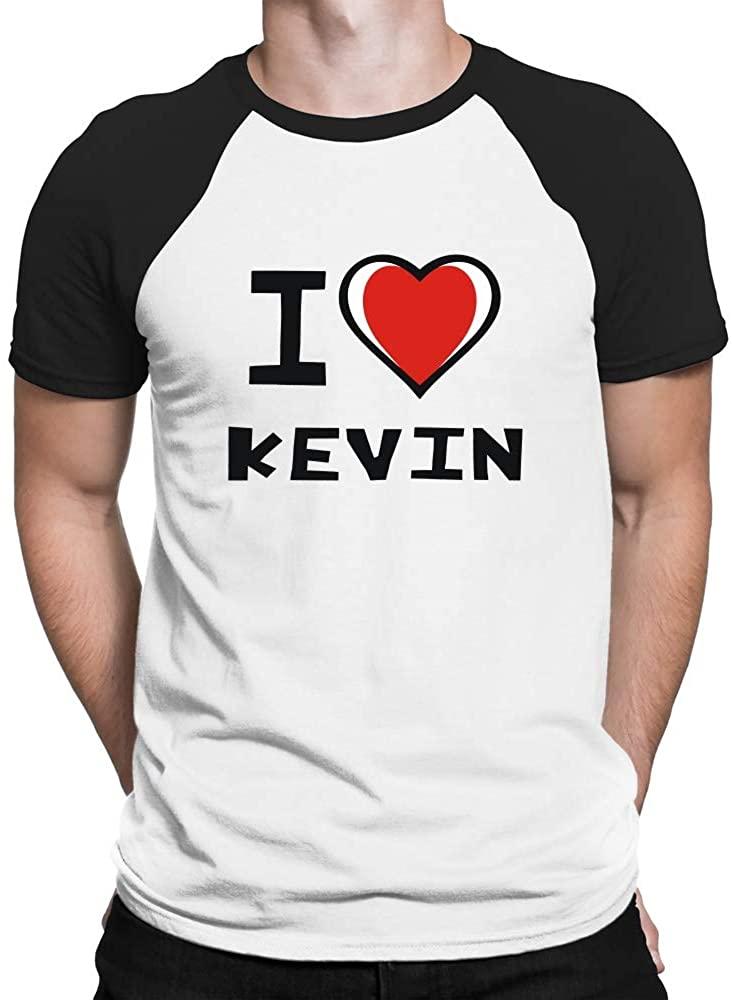 Teeburon I Love Kevin Bicolor Heart Raglan T-Shirt