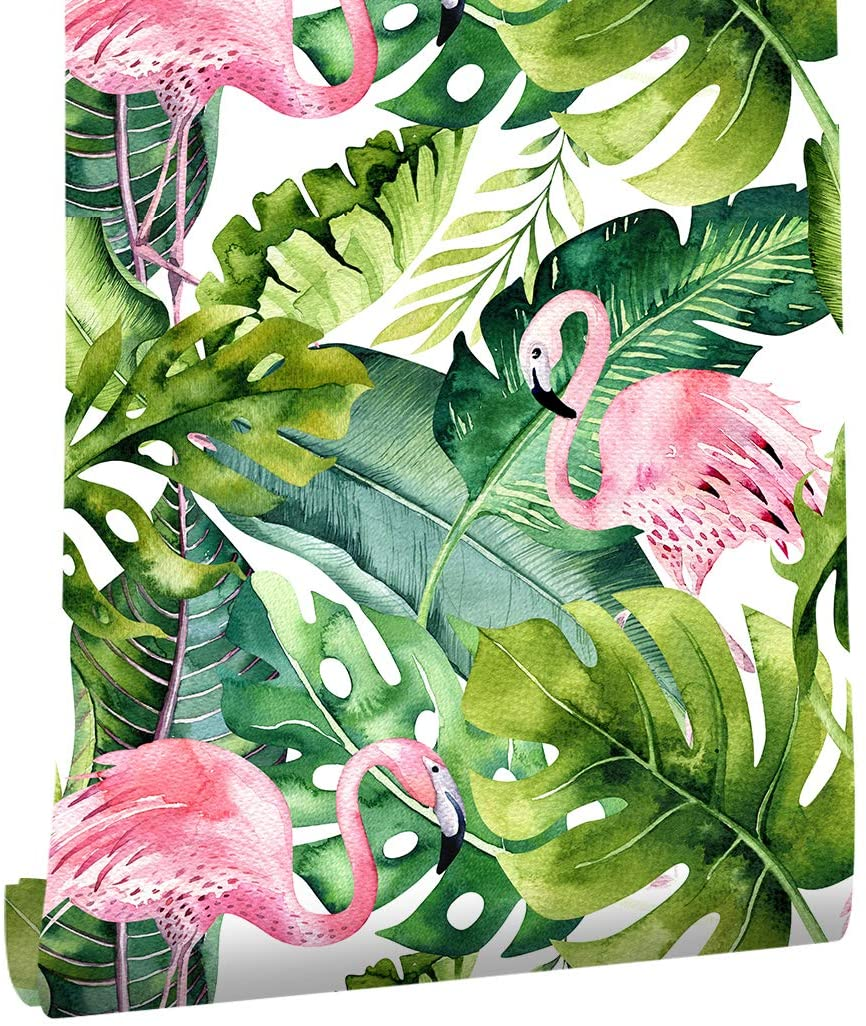 HaokHome 93013 Flamingo Palm Tree Peel and Stick Wallpaper Removable Green/Pink Vinyl Self Adhesive Decorative 17.7
