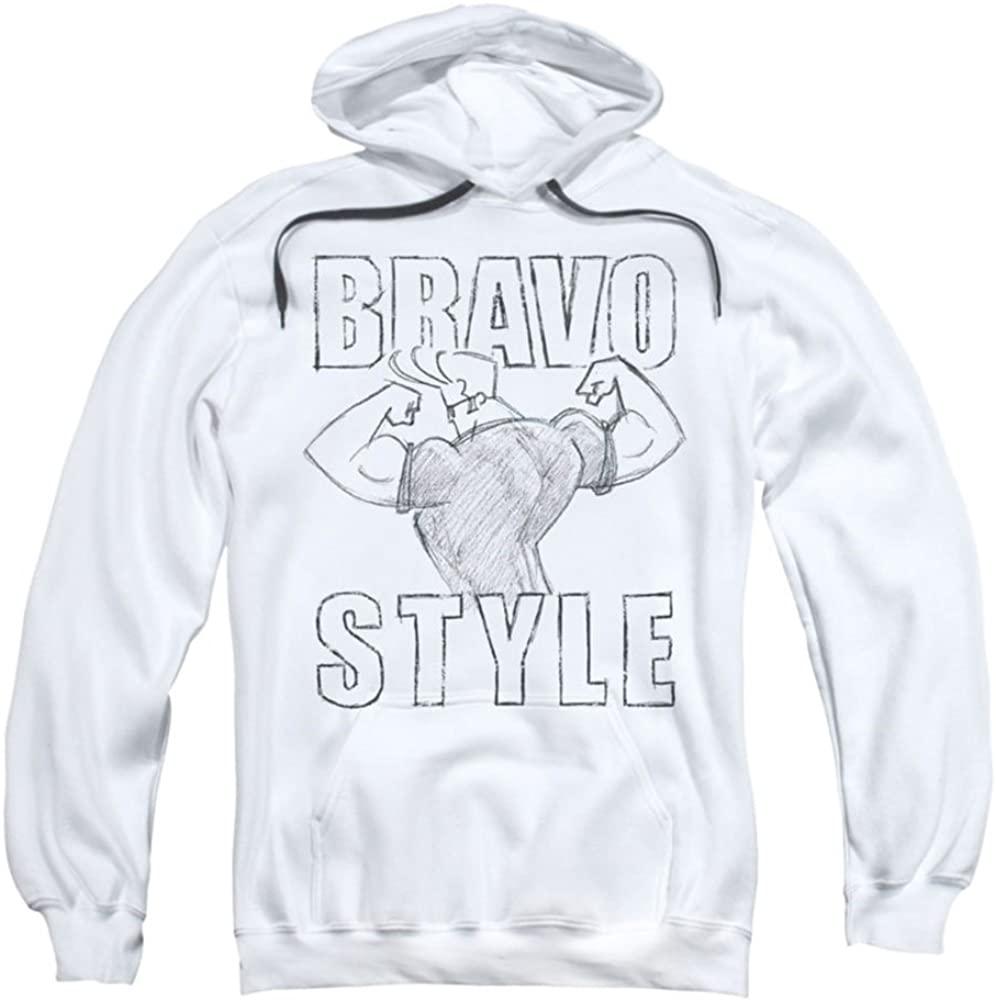 Trevco Johnny Bravo-Bravo Style - Adult Pull-Over Hoodie - White & 2X