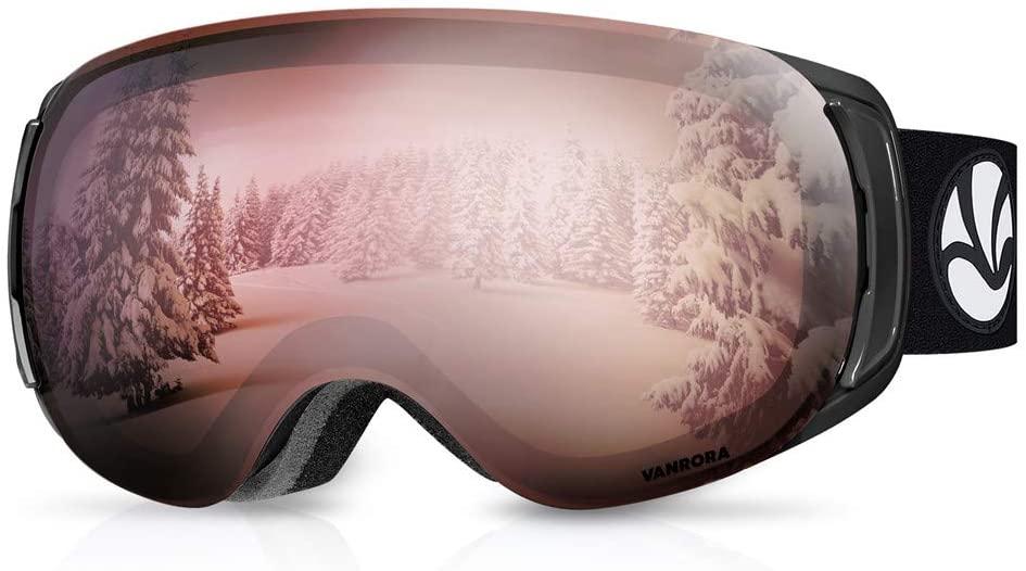 VANRORA OTG Ski Goggles, Snowboard Goggles - Magnetic & Clip Locking System, Interchangeable Lenses, Anti-Fog, 100% UV Protection, Helmet Compatible Snow Goggles for Men, Women & Teens (X-Mag Series)
