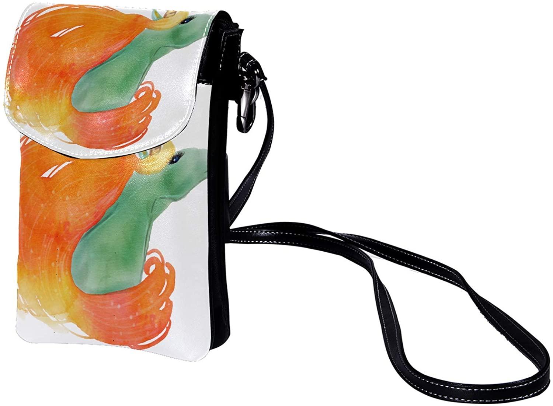 Leather Phone Purse Cute Unicorn (254) Small Crossbody Bag Shoulder Bag
