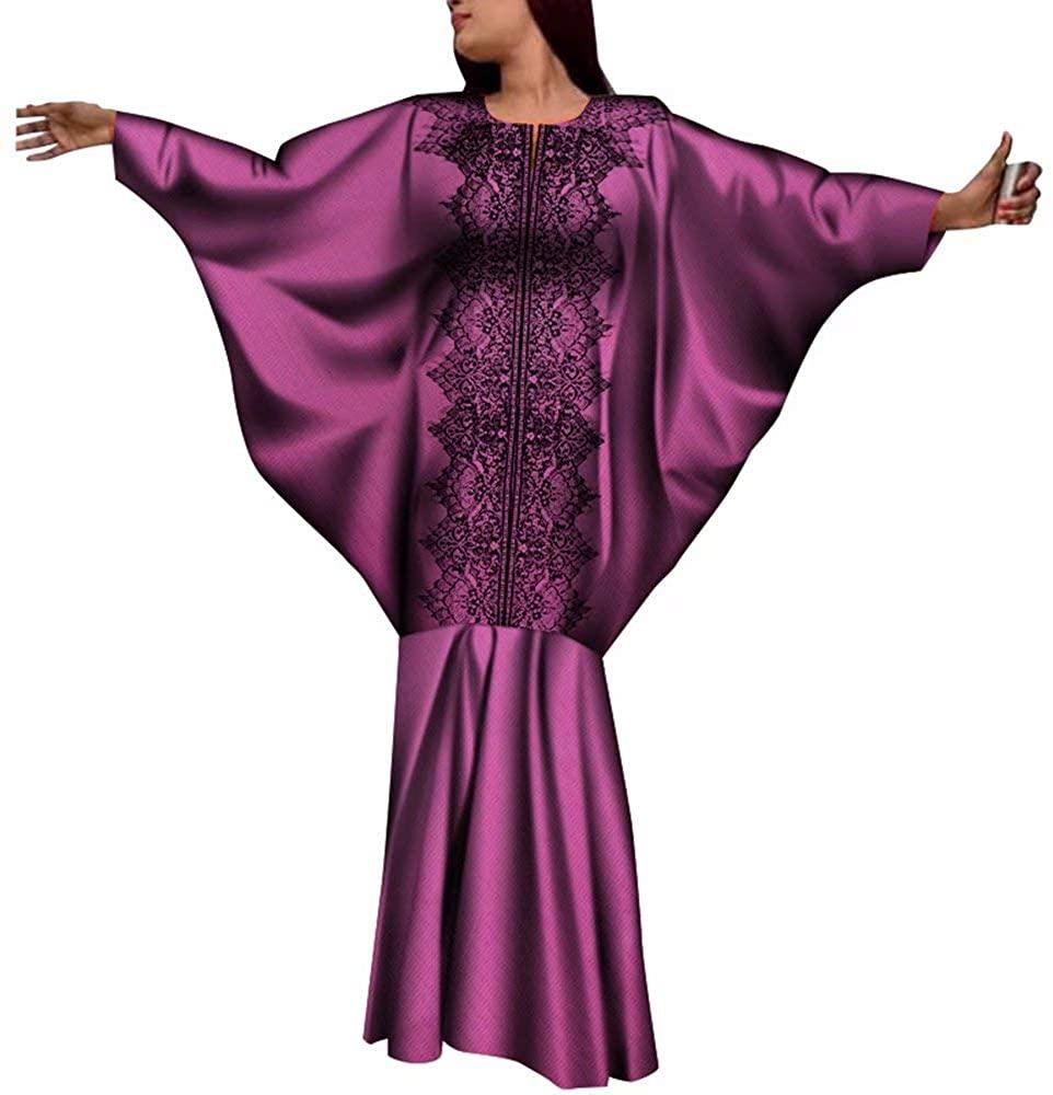 Dress for Women African Bazin Riche O-Neck Bat Sleeve Maxi Wax Print Long Dresses Plus Size Clothes