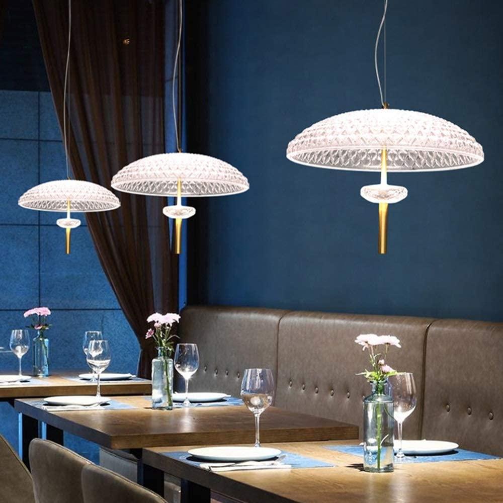 Waitousanqi Nordic Simple Umbrella Glass Chandelier Jellyfish Chandelier Restaurant Cafe Window Bedside Bedroom LED Lights Creative Light Transparency (Size : L)