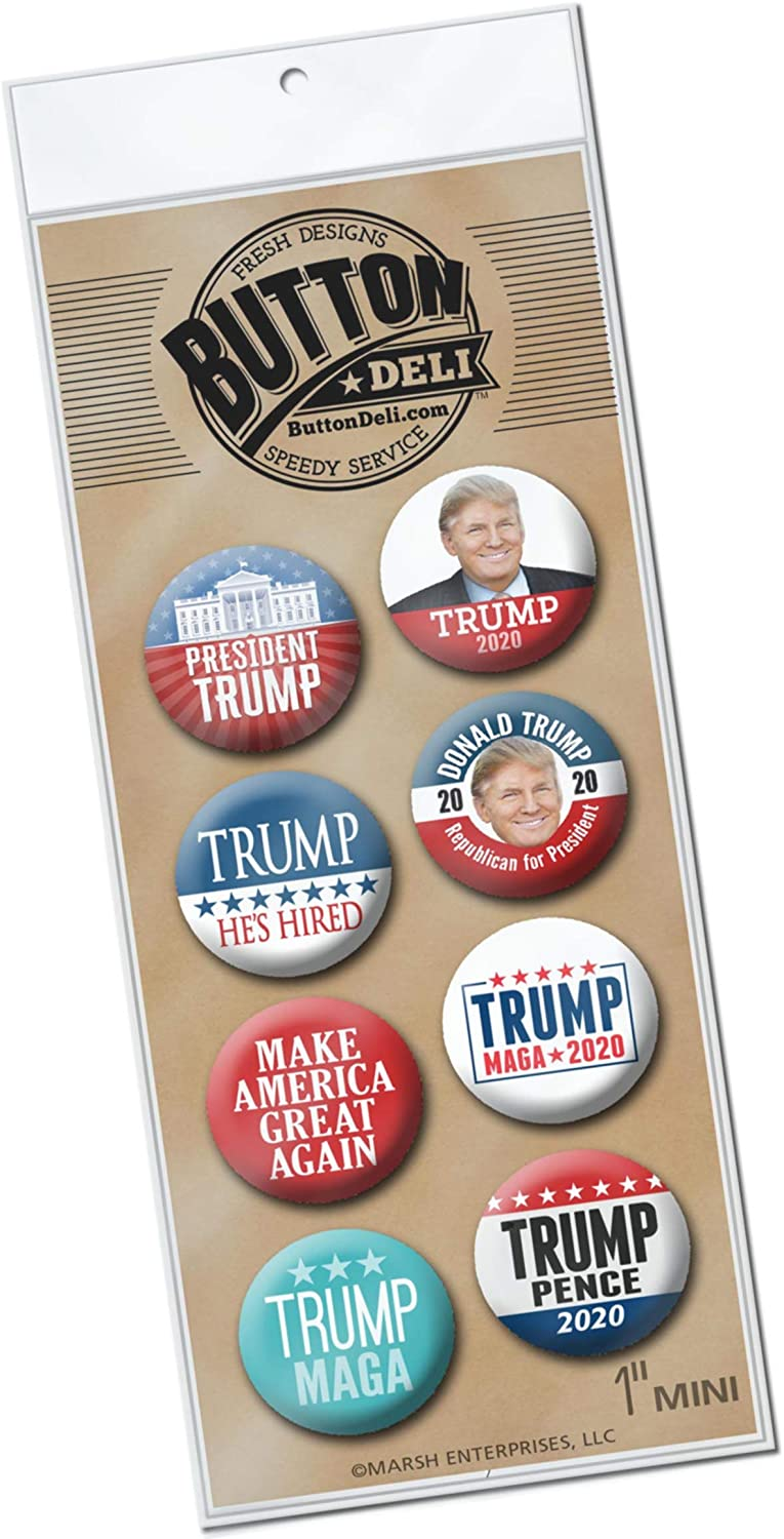 8-Pack Mini Buttons - Donald Trump Mike Pence Campaign 2020-1 Inch Lapel Pins Assorted Designs 3725