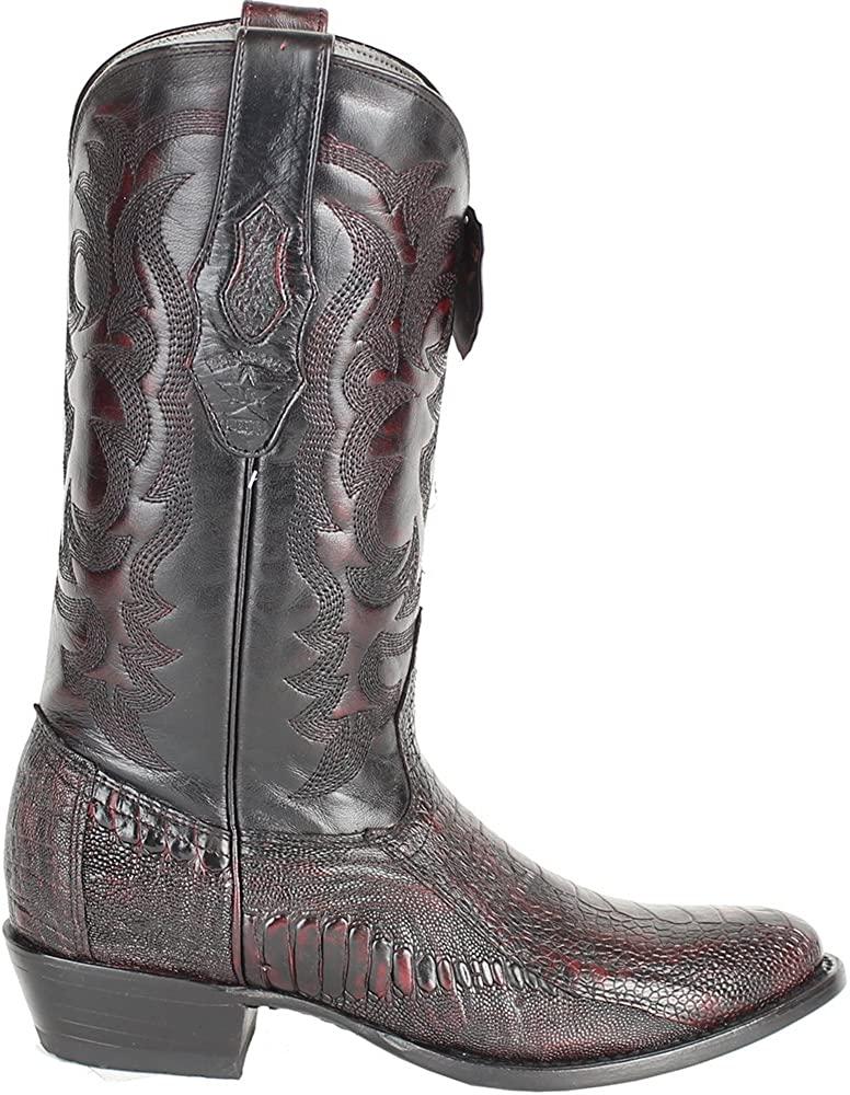 Genuine Ostrich Leg Cherry Round Toe Los Altos Men's Western Cowboy Boot 650518