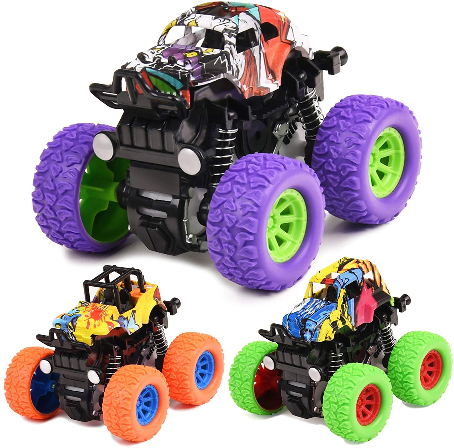 Monster Trucks Toys for Boys 3PCS Inertia Pull Back Toy Cars Friction Powered Vehicles Toys for Boys Girls Toddler 3 4 5 6 7 8 Year Old Kids Birthday Christmas Toys Gifts (Purple, Green, Orange)