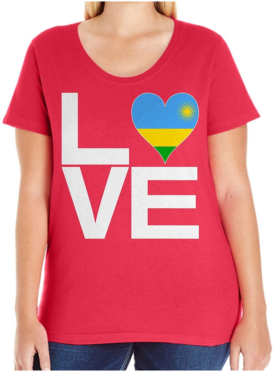 HARD EDGE DESIGN Women's Love Block Rwanda Heart Plus Size Scoop Neck T-Shirt, Size 1, Red