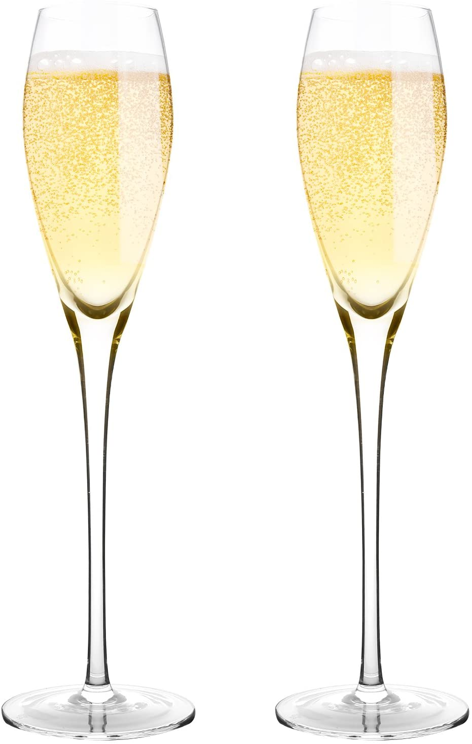 Bella Vino Hand Blown Crystal Champagne Flutes - Bella Vino Standard Champagne Glasses Made from 100% Lead Free Premium Crystal Glass,Perfect for Any Occasion,Great Gift, 10.5