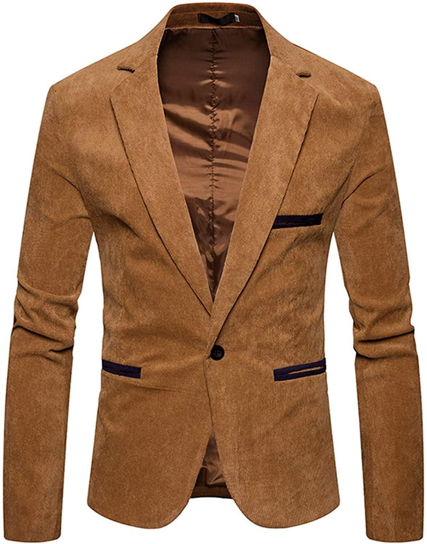 Soluo Men's Fashion Autumn Winter Slim Fit Casual Corduroy Suit Jacket Blazer Coat Top Outwear Overcoat