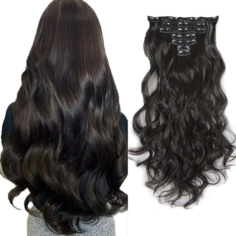 iLUU 20 Inch Darkest Brown Colored #2 Japan Heat-resisting Natural Fiber Wavy Curly Full Head Synthetic Clip in Hair Extension 100g 7pcs Thick Hairpiece with 16 Clips