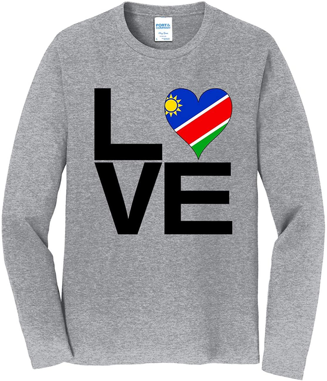 HARD EDGE DESIGN Men's Love Block Namibia Heart Long Sleeve T-Shirt, 4X-Large, Heather Gray
