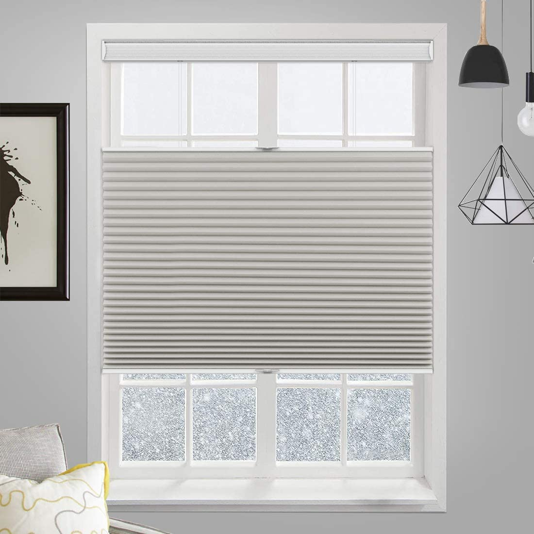 MiLin Cordless Blackout Cellular Honeycomb Shades Top Down Bottom Up, Fast Delivery Bedroom Kitchen Window Blinds and Shades Custom Cut to Size - Smoky Mossy