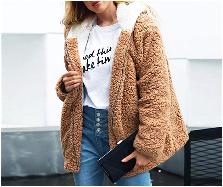 Plus Size Khaki Solid Hoodies Elegant Winter Teddy Coat Clothes Streetwear Warm Outwear Coats