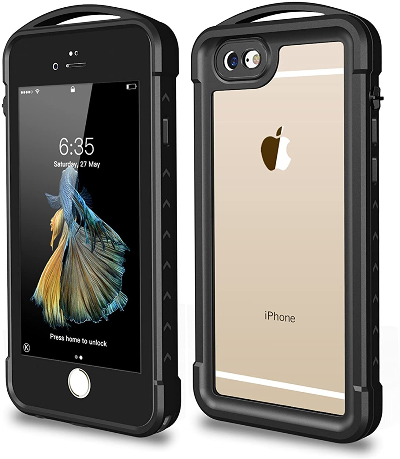Snowfox iPhone 6 / 6s Waterproof Case, Outdoor Underwater Full Body Protective Cover Snowproof Dustproof Rugged IP68 Certified Waterproof Case for Apple iPhone 6 / 6S (Black)