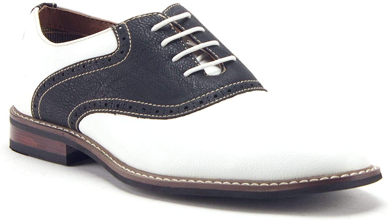 Ferro Aldo Men's 19268A Two Tone Saddle Oxfords Dress Shoes