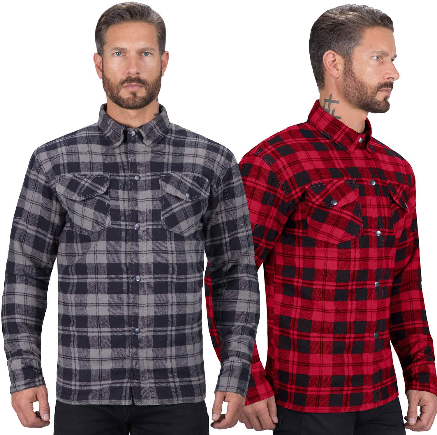 Viking Cycle Motorcycle Flannel Shirt for Biker Men - CE Armor Protection with Multiple Pockets for Storage (Black, X-Large)