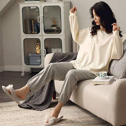 Home wear Long-Sleeved Pajamas Suit Ladies Solid Color 100% Cotton Pajamas Casual Indoor Clothes Plus Size (Color : 01, Size : Medium)