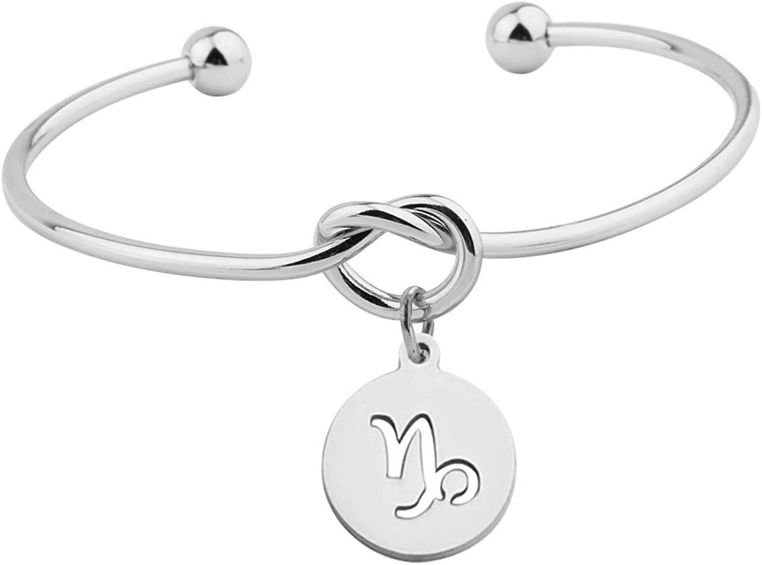 RedClivia Zodiac Bracelet Silver Knot Bracelet Tie The Knot Cuff Bangle with Zodiac Signs Disc Charm