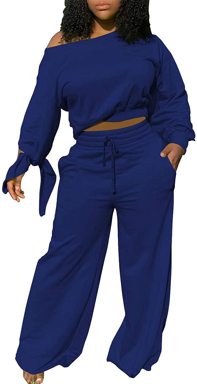 Womens Plus Size Two Piece Outfits One Off Shoulder Pullover Tops and Wide Leg Pants 2 Pcs Jogger Set Solid Tracksuits
