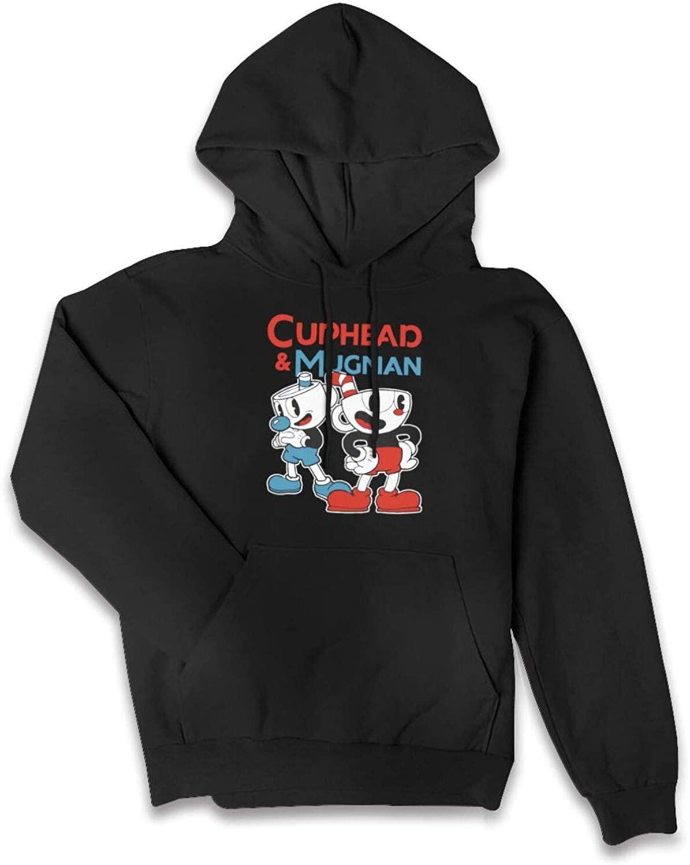 Cuphead Womens Casual Hoodies Long Sleeve Cropped Hooded Sweatshirts Girls Jackets Tops Pocket