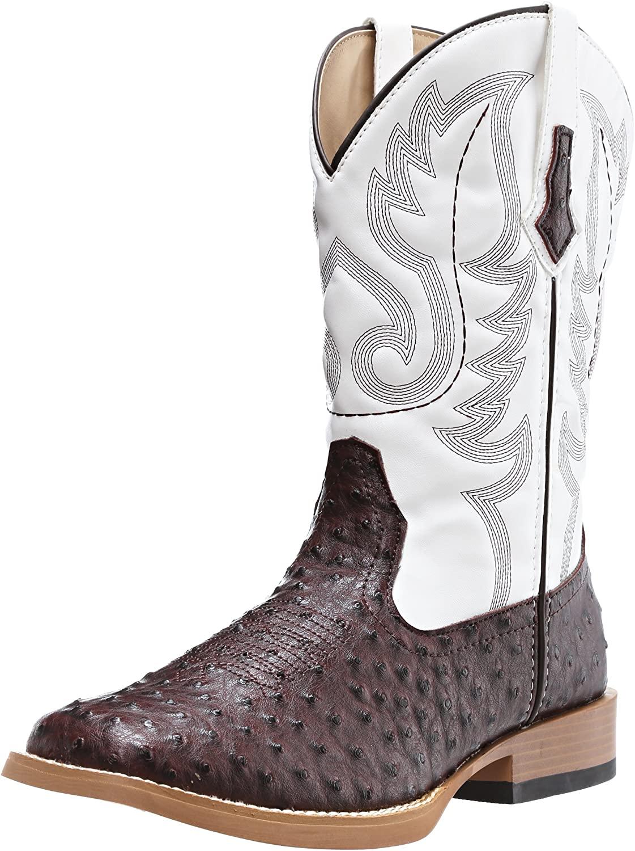 Roper Men's Ostrich Print Square Toe Cowboy Boot, Brown Faux Leather/Western Stitch, 10.5 D - Medium
