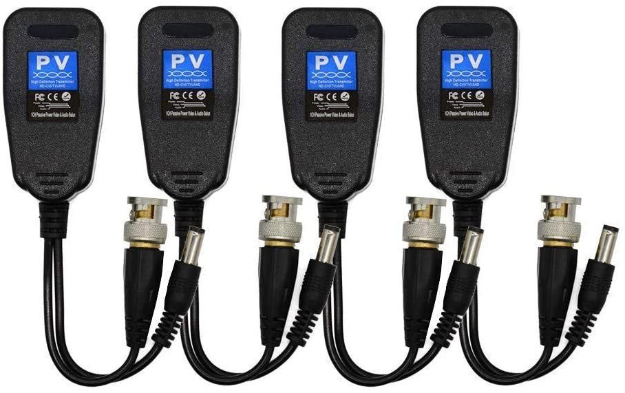 Davitu Electrical Equipments Supplies - Video Balun, HD-CVI/TVI/AHD UTP Passive Video Balun with DC Power Connector and RJ45 UTP CAT5e/Cat6 Transmitter/Receiver, Includ