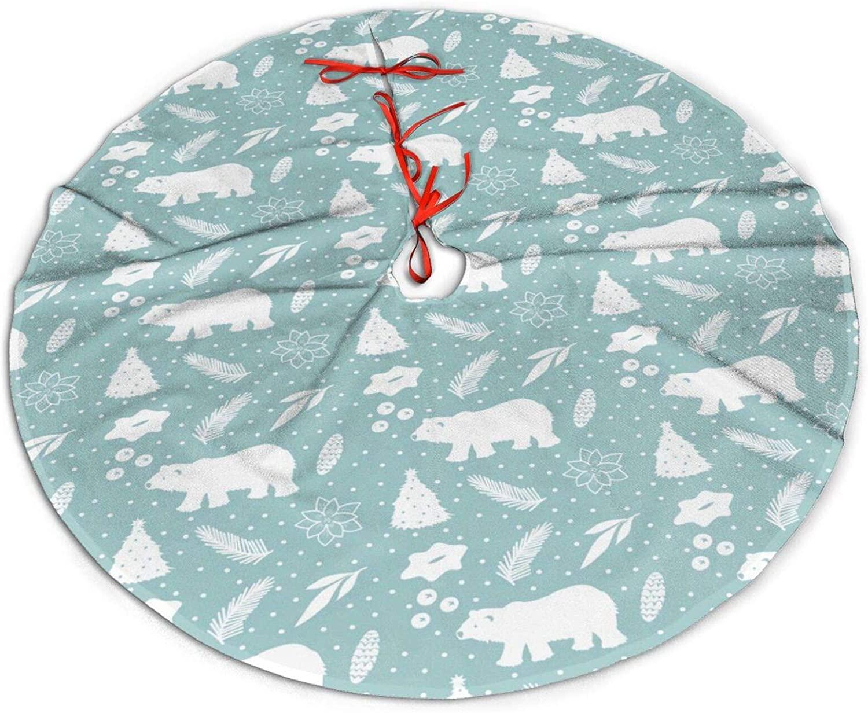 JHSLAJ Polar Bear Holiday Christmas Tree Skirt for Xmas New Year Holiday Decorations Indoor Or Outdoor -48