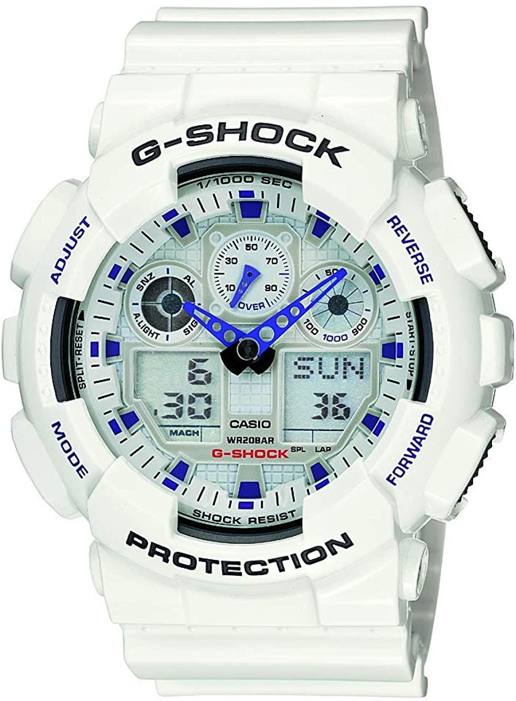 Casio Men's, G-Shock Quartz Sport Watch with Resin Strap, White, 29.4 (Model: GA-100A-7ACU)