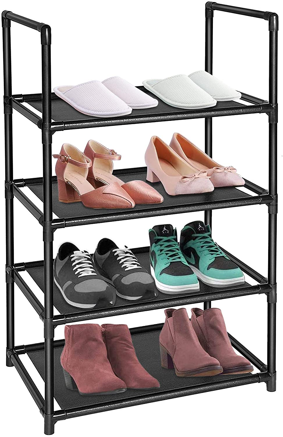 Sunvito 4 Tiers Shoe Rack, Shoe Rack Organizer for 8-10 Pairs, Space Saving Shoe Shelf, Durable Free Standing Shoe Storage Cabinet - 18 x 12 x 30.2 Inches (Black)