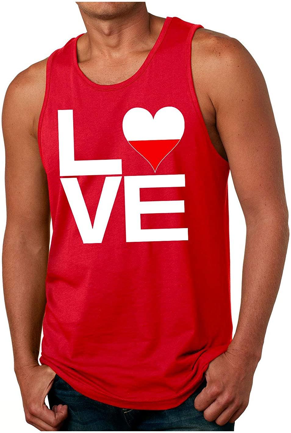 HARD EDGE DESIGN Men's Love Block Poland Heart Tank Top, Large, Red